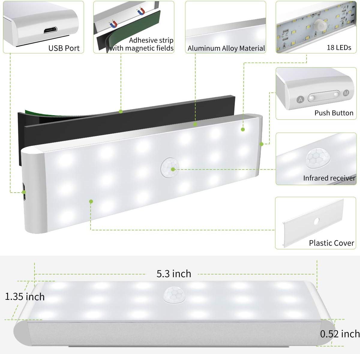 LED Closet Light 18-LED Motion Sensor Dimmer Under Cabinet Light Rechargeable Wireless Stick on Anywhere Night Light Bar Safe Lights for Wardrobe Stairs Bedroom Hallway 1 Pack