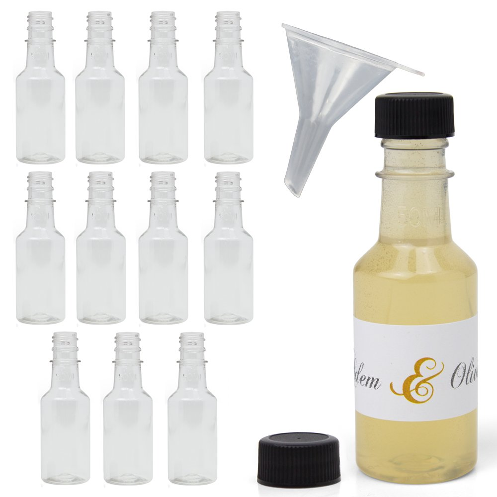 Amazon.com: Mini 50ml Liquor Bottles – Set Of 12 Clear Plastic ...