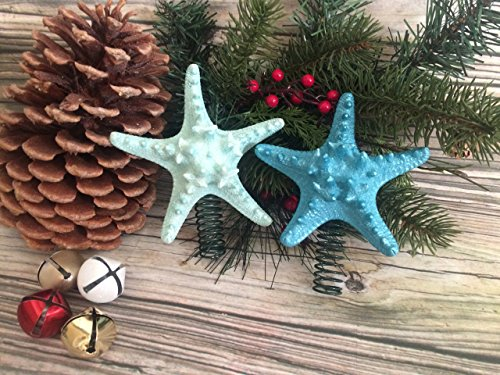 Turquoise Small Knobby Starfish Christmas Tree Topper