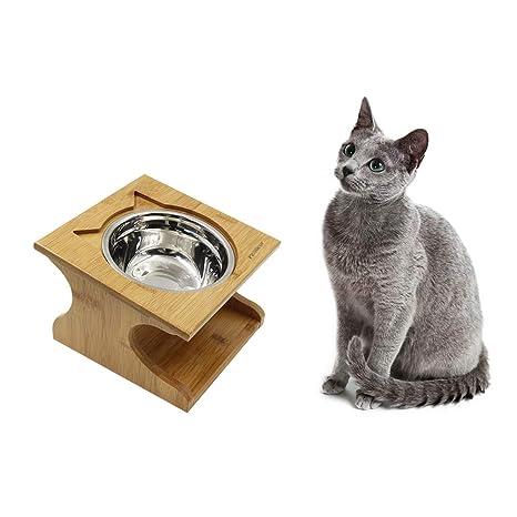 Petilleur Cuenco Elevado para Gatos Perros Comedero Gato Perro Elevado con Soporte de Madera (1 Cuenco, Acero Inoxidable)