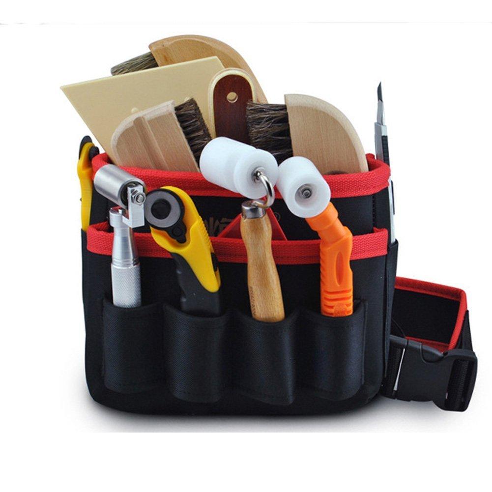 Hense Tool Bag - Rigid Canvas Heavy Duty Workshop Tool Pouches, Best for Men / Women Handymen Carpenter Woodworking (HSZ-15-B-US) (#8 Pockets)
