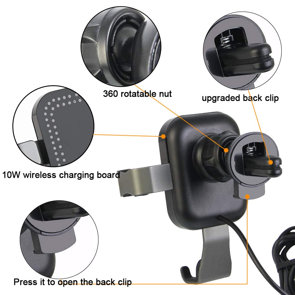 CODIRATO Wireless Car Charger 10W Qi Car Charger Holder Fast Charger Car Mount for iPhone X//iPhone 8 // 8Plus HTC 8X HTC 8X7 // S8 Samsung S7 // S8