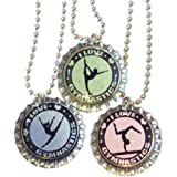 I Love Gymnastics - Gymnast Bottlecap Necklaces - Set of 3