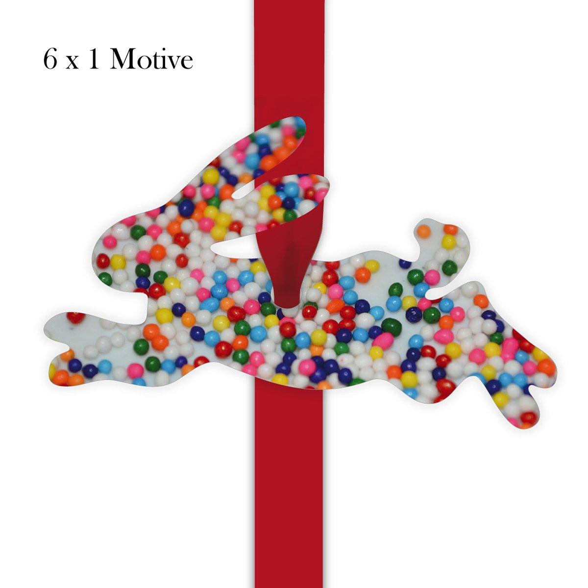 Kartenkaufrausch 60 süße süße 60 Geschenkanhänger   10 Pkg à 6 Stk Geschenkkärtchen   Girlanden Anhänger mit Zucker Perlen Foto - in Hasen Form 11,5 x 7cm 09ca4d