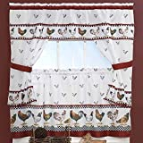 DSOS 3pc Red White Rooster Kitchen Tiers Valance Set 57 X 36, Lodge Cottage Window Treatment Morning Country Themed Traditional Rustic, Polyester, Black Color Chicken Kitchen Curtains Log Cabin