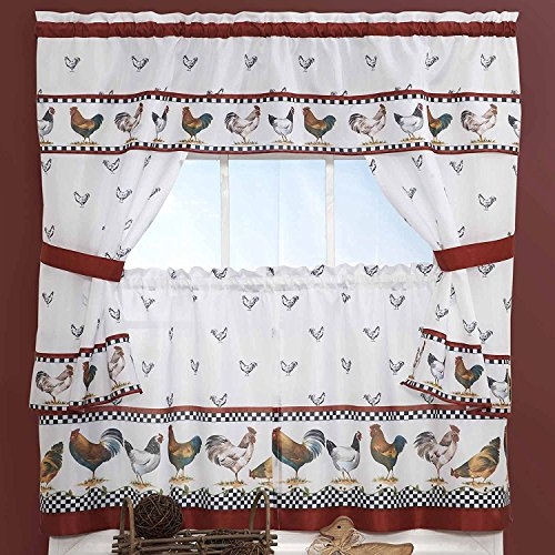 Dsos 3pc Red White Rooster Kitchen Tiers Valance Set 57 X 36 Lodge