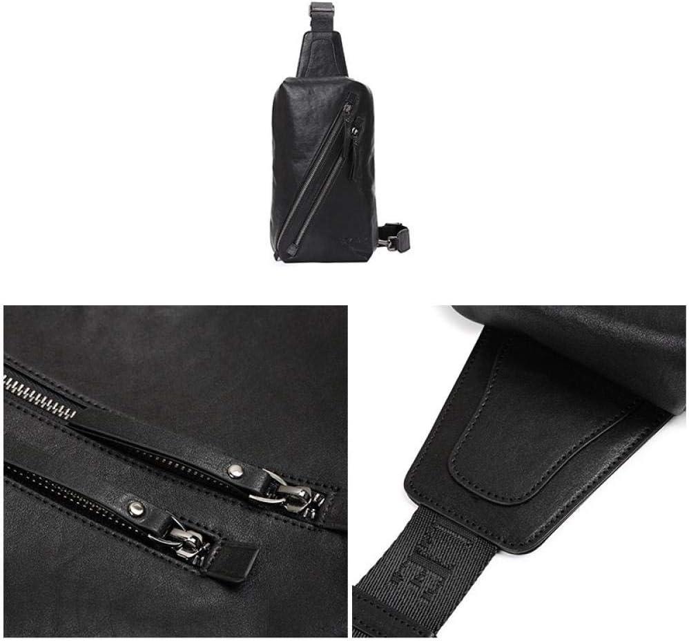 Sac de poitrine en cuir pour homme, Noir  (Noir) - uj98380424 Noir