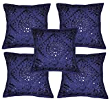 Sophia Art Home Furnishing Decorative Heavy Handmade Embroidered And Mirror Work Indian Cotton Throw Pillow Cushion Covers 16 x 16 Inches Set Of 5 Pcs (Blue)