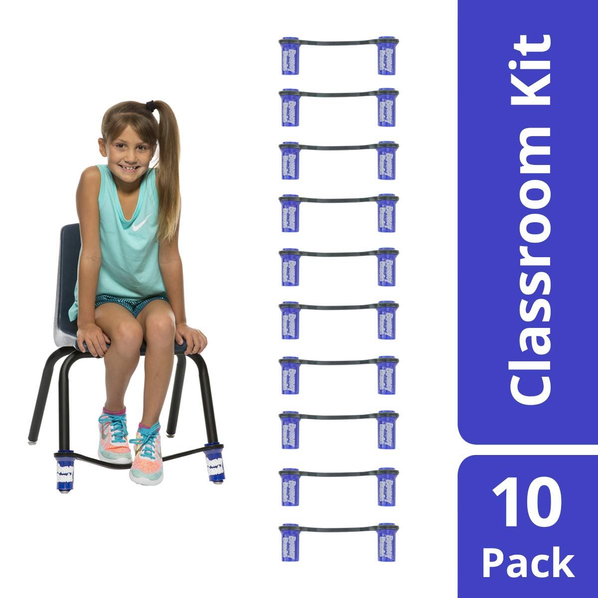 Original Bouncy Bands for Elementary School Chairs (Blue, Pack of 10)