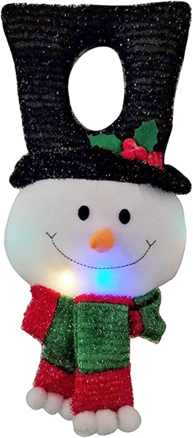 THE NIFTY NOOK LED Light UP Snowman Door Hanger Holiday Christmas Decoration with Timer (Snowman)