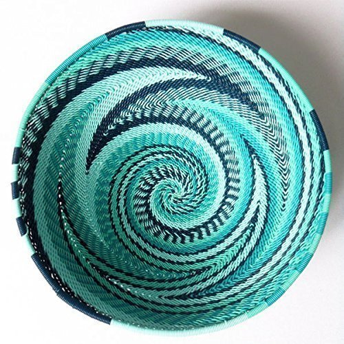 - African Zulu woven telephone wire bowl – Small round - Turquoise - Gift from Africa
