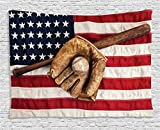 Ambesonne Sports Decor Tapestry, Vintage Baseball League Equipment with USA American Flag Fielding Sports Theme, Wall Hanging for Bedroom Living Room Dorm, 60 W X 40 L Inches, Brown Red and Blue