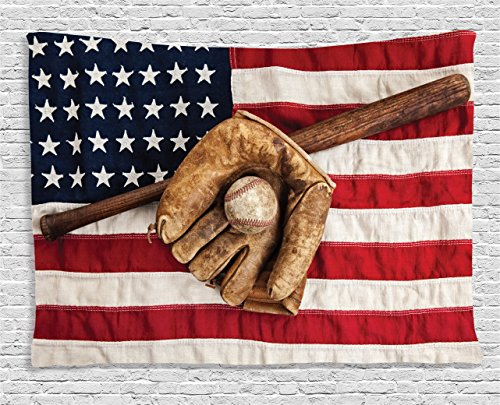 Sports Decor Tapestry by Ambesonne, Vintage Baseball League Equipment with Usa American Flag Fielding Sports Theme, Wall Hanging for Bedroom Living Room Dorm, 80 W X 60 L Inches, Brown Red and Blue (Wall Fan Hanging Sports)