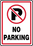 """Accuform Signs MVHR402VA Aluminum Safety Sign, Legend """"NO PARKING"""" with Graphic, 14"""" Length x 10"""" Width x 0.040"""" Thickness, Red/Black on White"""