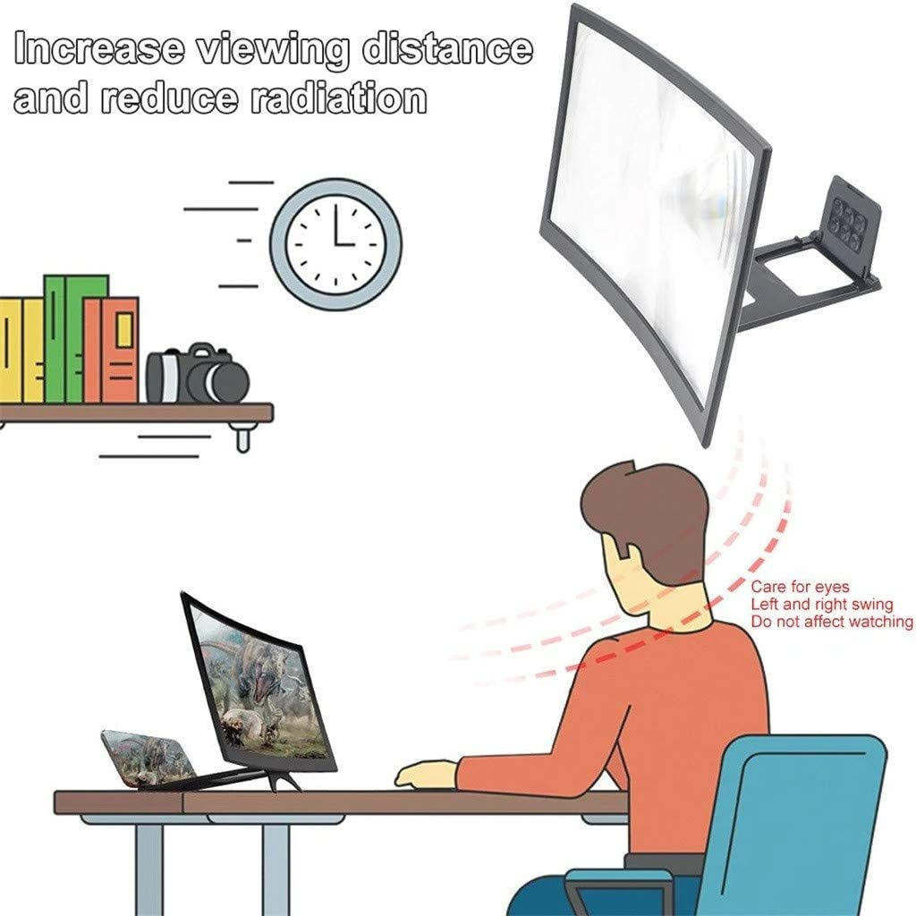 and Gaming Videos Samury Phone Screen Magnifier 12Inch 3D Curve Screen Magnifier for Cell Phone HD Amplifier Projector Magnifing Screen Enlarger for Movies