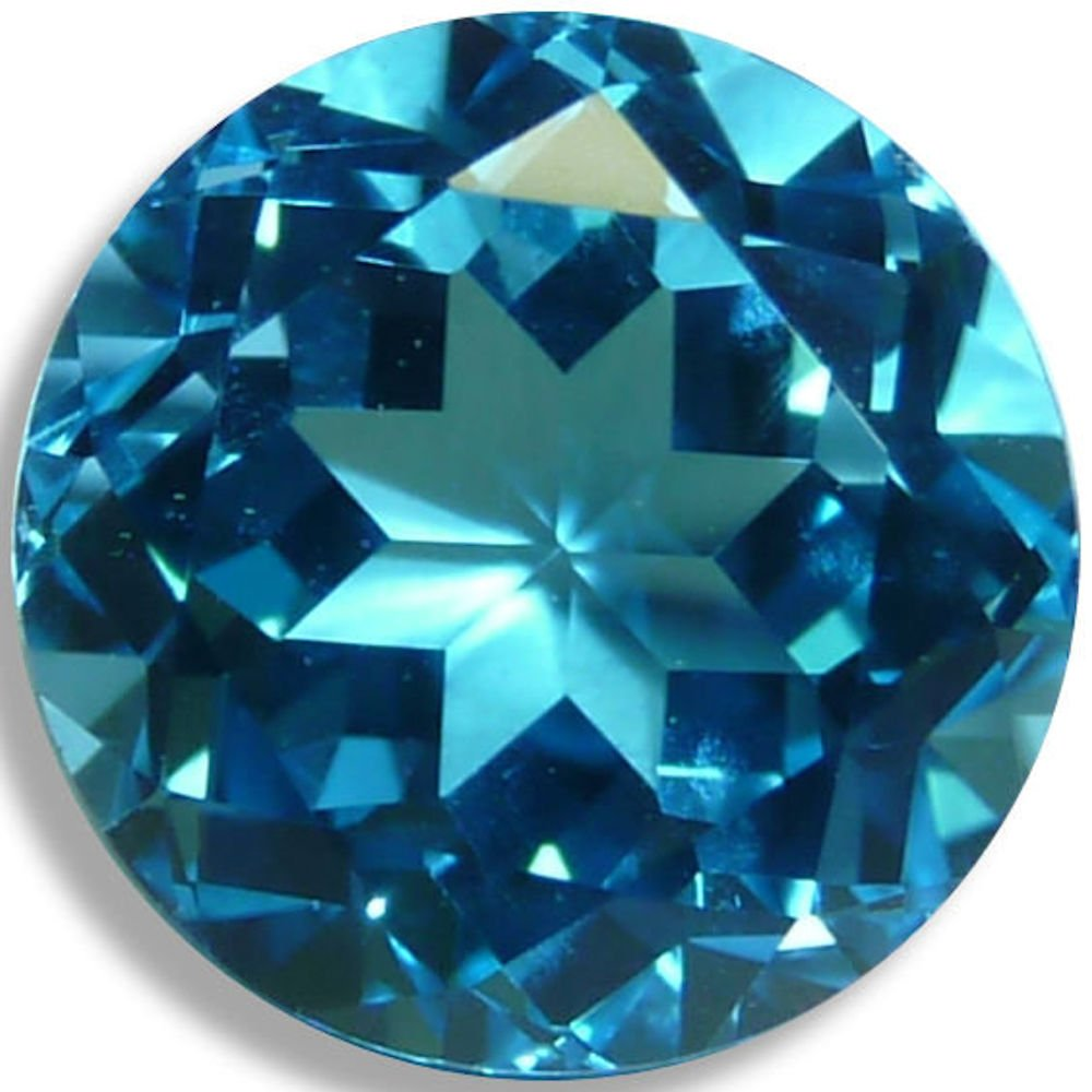 Natural Topaz Swiss Blue Round Brilliant Loose Unset Gem (8mm) click for more sizes