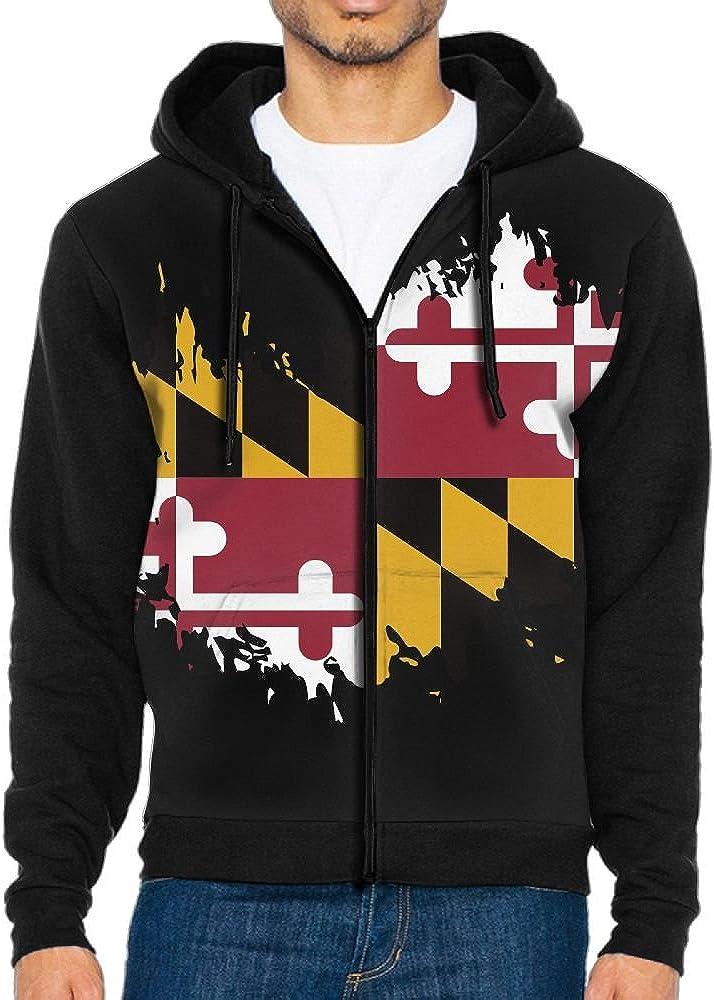 Mars Sight Sweatshirt Mens Maryland State Flag Full Zip Up Hoodie Jacket With Pocket