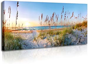 Ocean Beach Sunshine Blue Landscape Canvas Wall Art - Print Art Living Room Office Decoration Poster Easy Hang - 20x40 inch X1 Panel
