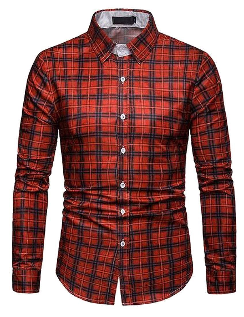 Domple Men Casual Long Sleeve Plaid Print Business Button Down Slim Fit Dress Work Shirt