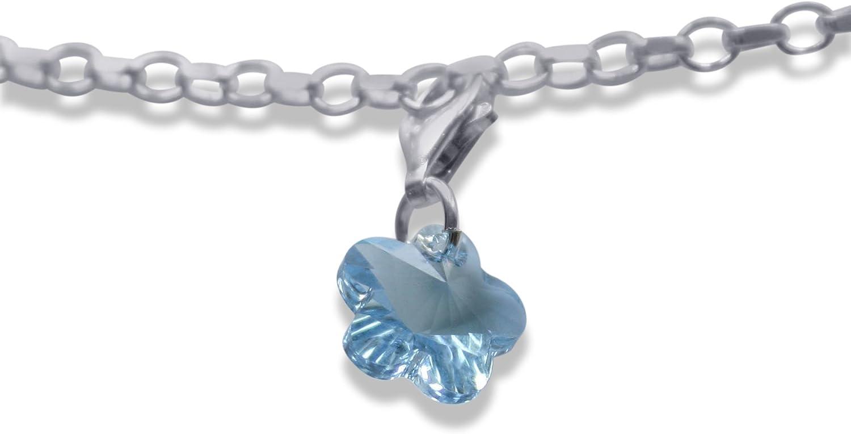 Argent sterling aigue-marine Fleur Cristal Clip on Charm fait avec Swarovski Elements