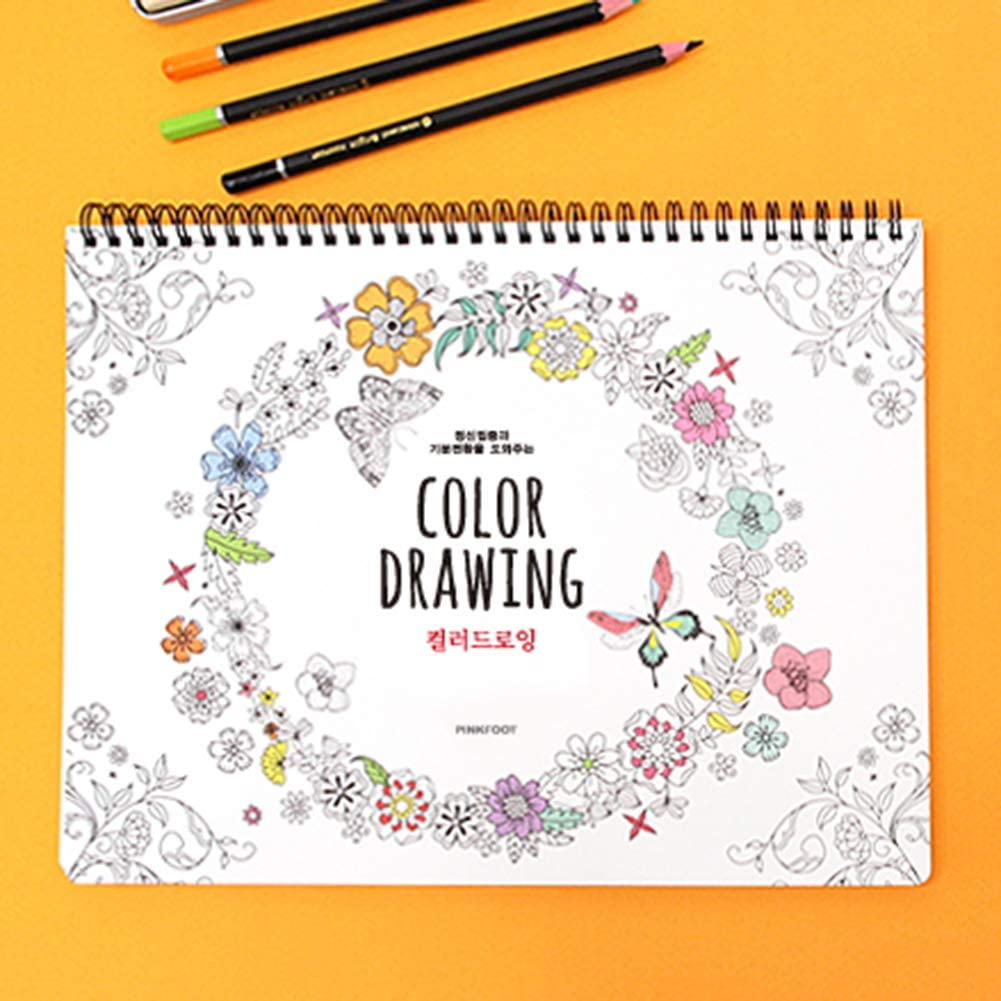 PINKFOOT Color Drawing Coloring Books for Adults Relaxation Color Therapy 41 Sheets of Coloring Book Mint 296x225x15mm 80 Different Designs on Each Sheet