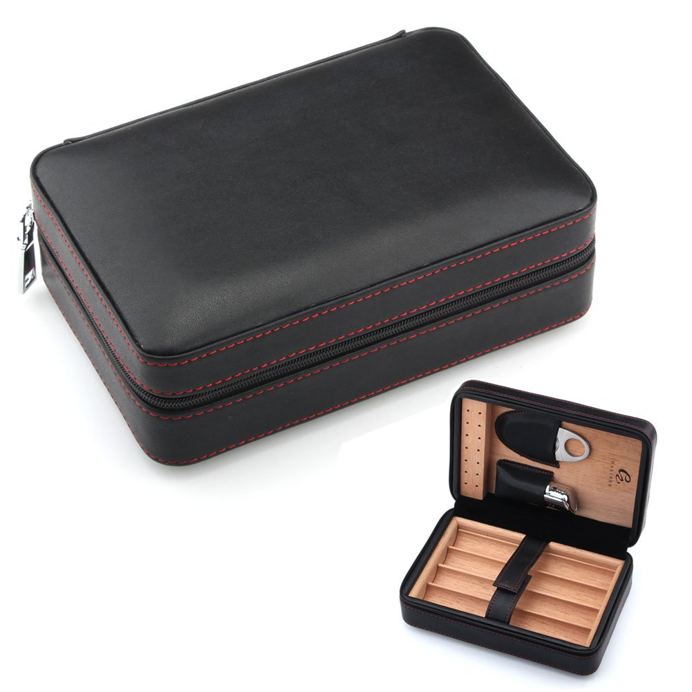 GALINER Genuine Black Soft Leather Travel Cigar Case Cedar Humidor Cutter Set