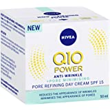 NIVEA Q10 Power Anti-Wrinkle Pore Refining Day Cream Moisturiser, SPF15 with Creatine & Algae Extract for Normal to Combination Skin, 50ml