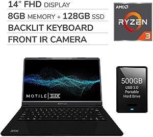"MOTILE 2020 14"" FHD Performance Laptop Computer, 2-Core AMD Ryzen 3-3200U 2.6GHz, 8GB RAM, 128GB SSD, No DVD, Wi-Fi, Bluetooth,720p IR Webcam, HDMI, Windows 10, 500GB USB 3.0 External HDD"