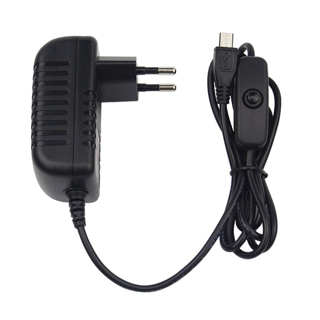Tree-of-Life 5V 3A Alimentatore Caricabatterie Adattatore CA Cavo Micro USB con Interruttore On//off per Raspberry Pi 3 pi PRO Modello B B Plus