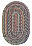Multi-Colored Rug 2ft. x 10ft. Runner Oval Braided Soft Wool Rustic Carpet