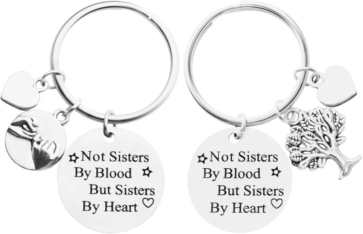 Dsaren 2 PCS Llavero de Amistad Not Sisters by Blood But Sisters by Heart Llavero Friends Regalo para Hermanas Niñas Mujeres Cumpleaños