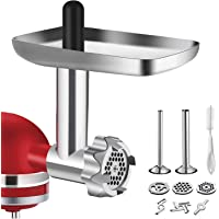 Metal Food Grinder Attachment for KitchenAid Stand Mixers, BQYPOWER Meat Grinder Attachment Included 2 Sausage Stuffer…