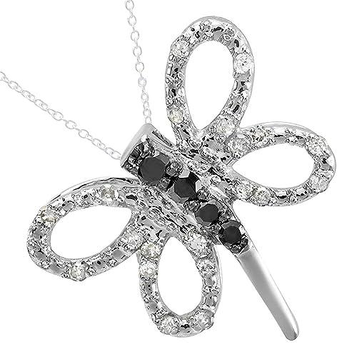 0.25 Carat ctw 10K Gold Round Black White Diamond Dragonfly Ladies Pendant 1 4 CT