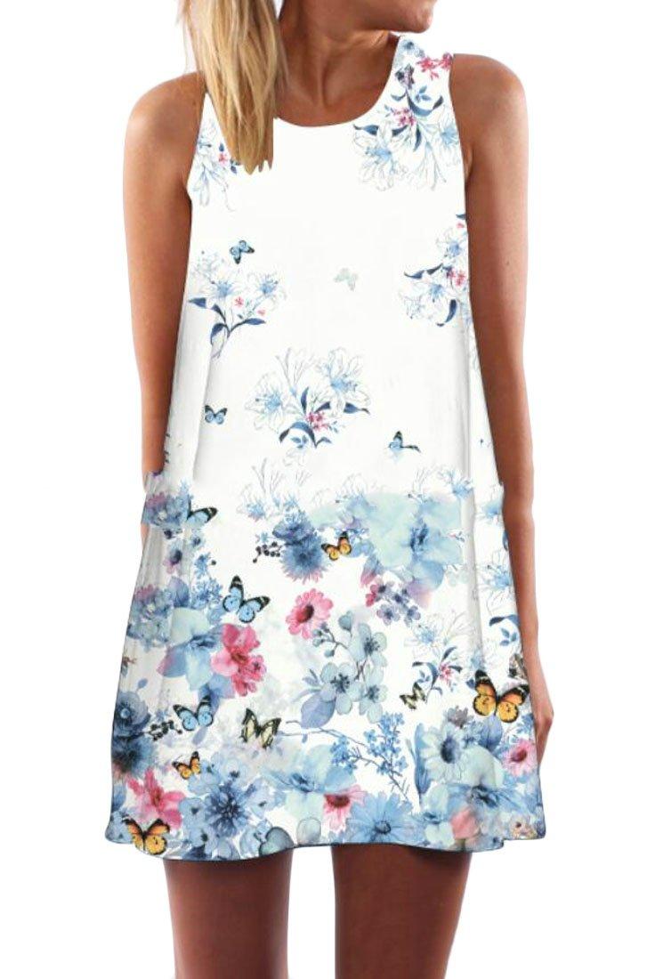 WAWAYA Womens Round Neck Loose Summer Print Sleeveless Flared A-Line Mini Dress 1 XS