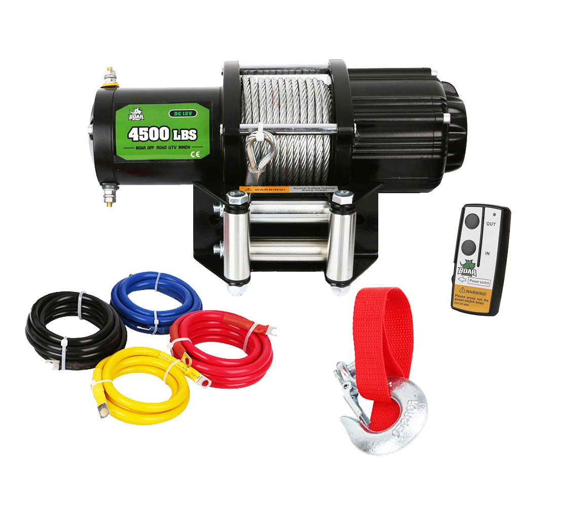 BOAR 4500lb ATV Winch kit with roller fairlead,handlebar rocker switch, and handheld remote