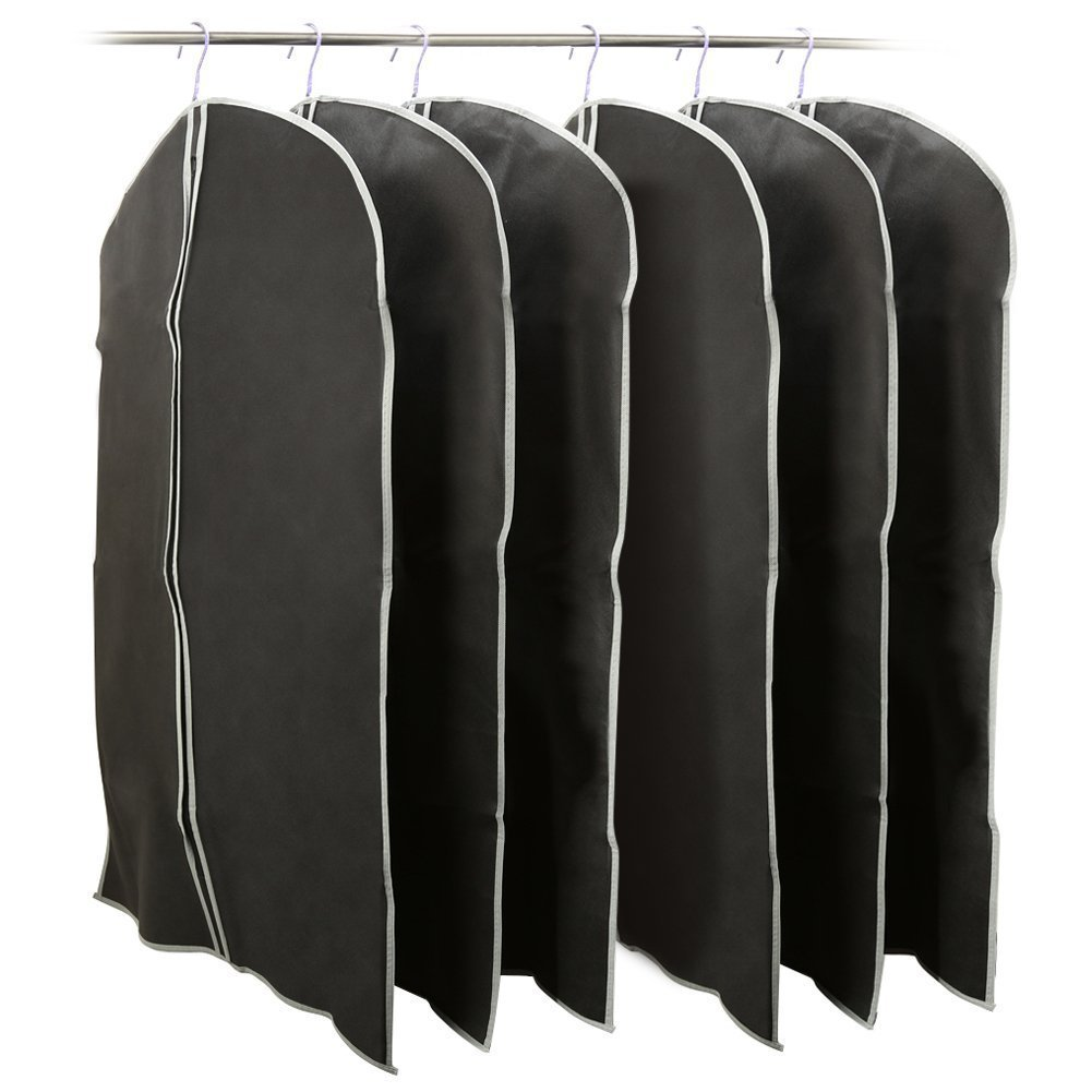 6 Pack Garment Bags 39inch, EZOWare Black Foldable Breathable Garment Cover Dust Bags for Luggage, Dresses, Linens, Storage, Travel and More - Set of 6