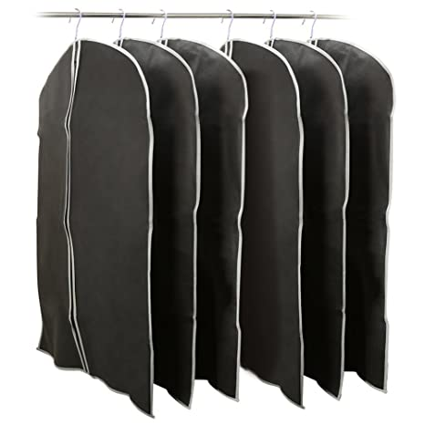 501649bed0f5 6 Pack Garment Bags 39inch, EZOWare Black Foldable Breathable Garment Cover  Dust Bags for Luggage, Dresses, Linens, Storage, Travel and More - Set of  ...