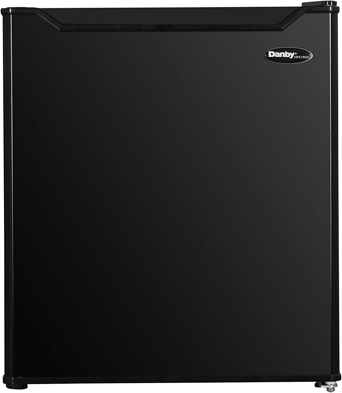 Danby Designer DAR016B1BM-6 1.6 Cu.Ft. Countertop Mini Fridge, Compact Refrigerator for Office, Desk, Dorm, Bar, E-Star Rated, Black
