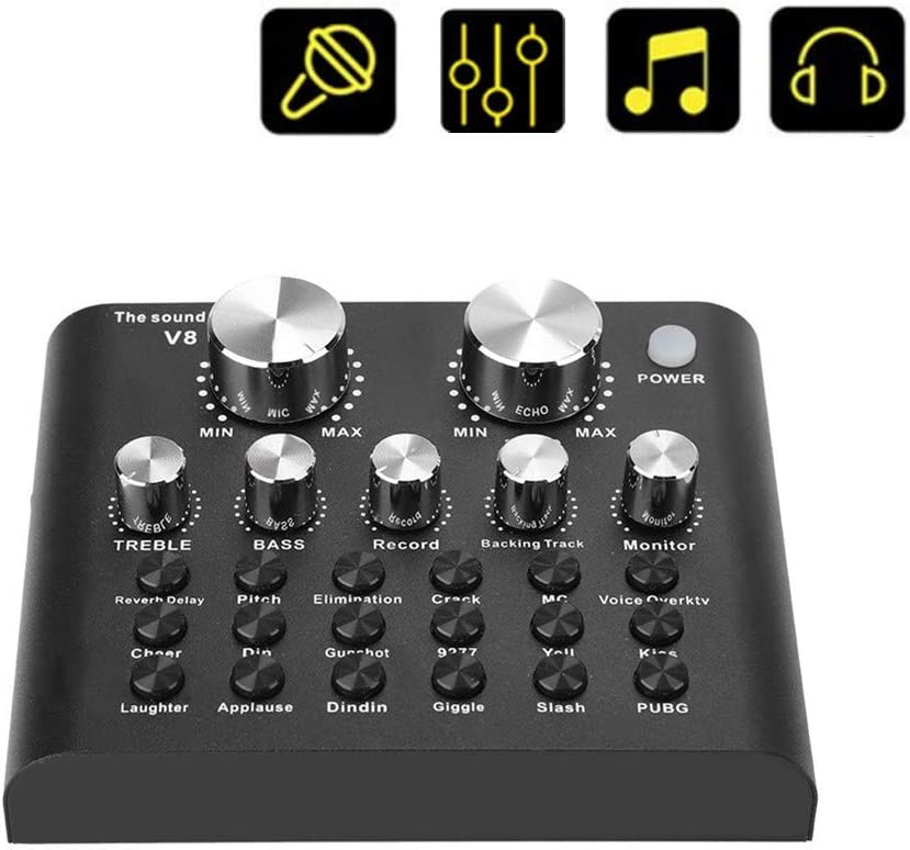 Cambiador de voz profesional, tarjeta de sonido V8 Live con versión Bluetooth, 112 tipos de electroacústica, 18 tipos de efectos de sonido, 6 modos de efectos, soporte para teléfono y computadora, neg