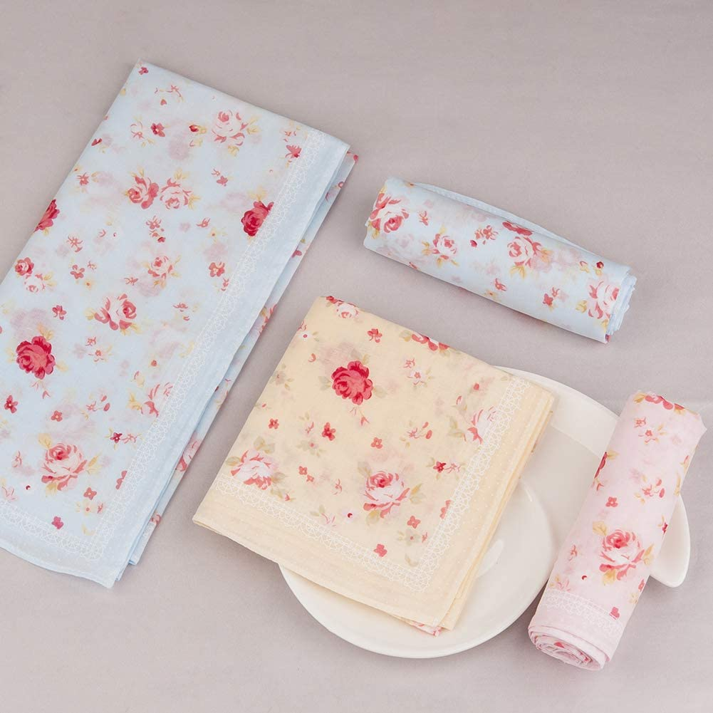 Houlife Ladies 100/% 60S Cotton Handkerchiefs Womens Soft Vintage Red Rose Floral Print Hankies for Wedding Party 3//6 Pieces 18x18//45x45cm