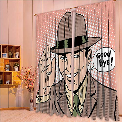 ern Style Room Darkening Blackout Window Treatment Curtain Valance for Kitchen/Living Room/Bedroom/Laundry,Pop Art Man Says Goodbye Etiquette Parting 108Wx63L Inch ()