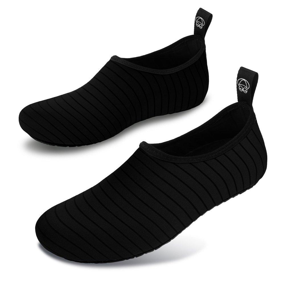 JIASUQI Summer Outdoor Beach Pool Swimming Aqua Water Shoes for Women Men Black US 9.5-10.5 Women, 8.5-9 Men by JIASUQI (Image #3)