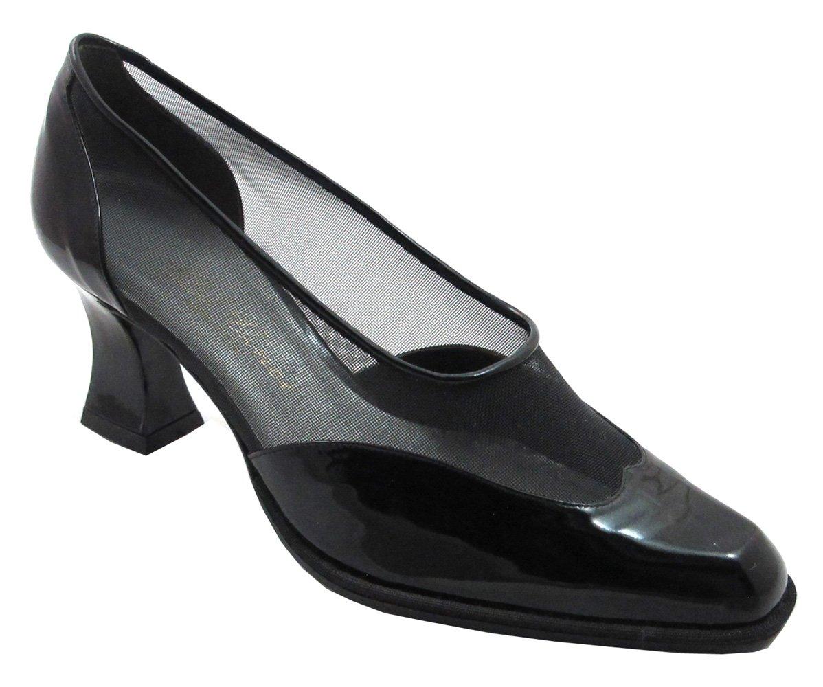 DA'VINCI 8804 Women's Italian Dressy Low Heel with Mesh Summer Shoes Black Size 37