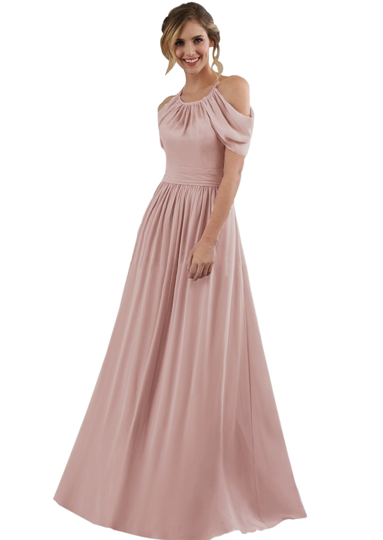 037c8a981090 Women's Halter Chiffon Long Formal Wedding Bridesmaid Dress Maxi with Cold  Shoulder Sleeves Dusty Rose Size 2