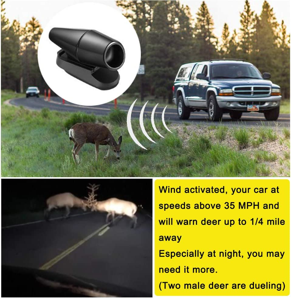 Black Ultrasonic Wildlife Warning for Auto Motorcycle Truck SUV and ATV Lipctine 10 Pcs Deer Alert Whistle Horns for Vehicles 10 Pcs Tapes Avoids Deer Collisions Car Deer Warning