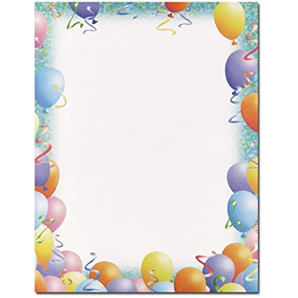 party balloon border new years celebration computer printer paper
