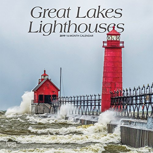 Great Lakes Lighthouses 2019 12 x 12 Inch Monthly Square Wall Calendar, USA United States of America Nature Lake (English, Spanish and French Edition)