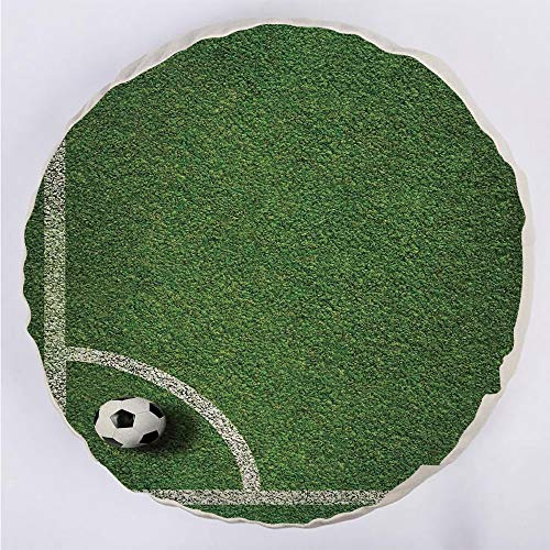 (YOUWENll Round Decorative Throw Pillow Floor Meditation Cushion Seating/Soccer Ball in Corner Kick Position Football Field top View Grass Lawn Terrain/for Home Decoration 17