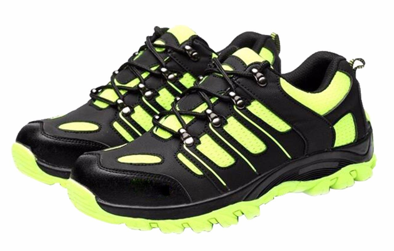 Women's and Men's Outdoor Round Toe Athletic Sport Sneaker Lightweight Walking Trail Safety Shoes Black greenMicrofiber Size US7.5 EU38 by Jiu du (Image #1)