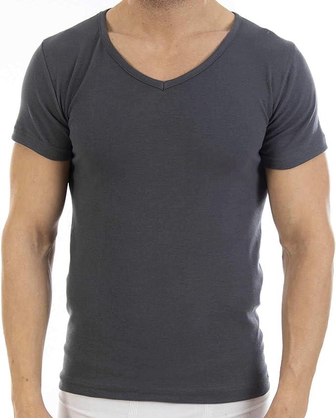 Camiseta Interior de Hombre de Lycra L420, de Manga Corta y Cuello de Pico. Pack Ahorro de 6 Unidades de la Misma Talla y Color.: Amazon.es: Ropa y accesorios